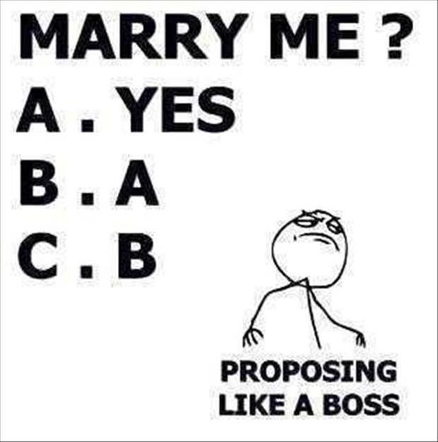 Marry me? A. Yes B. A C. B Proposing like a boss Picture Quote #1