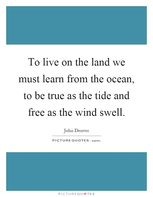To live on the land we must learn from the ocean, to be true as the tide and free as the wind swell Picture Quote #1