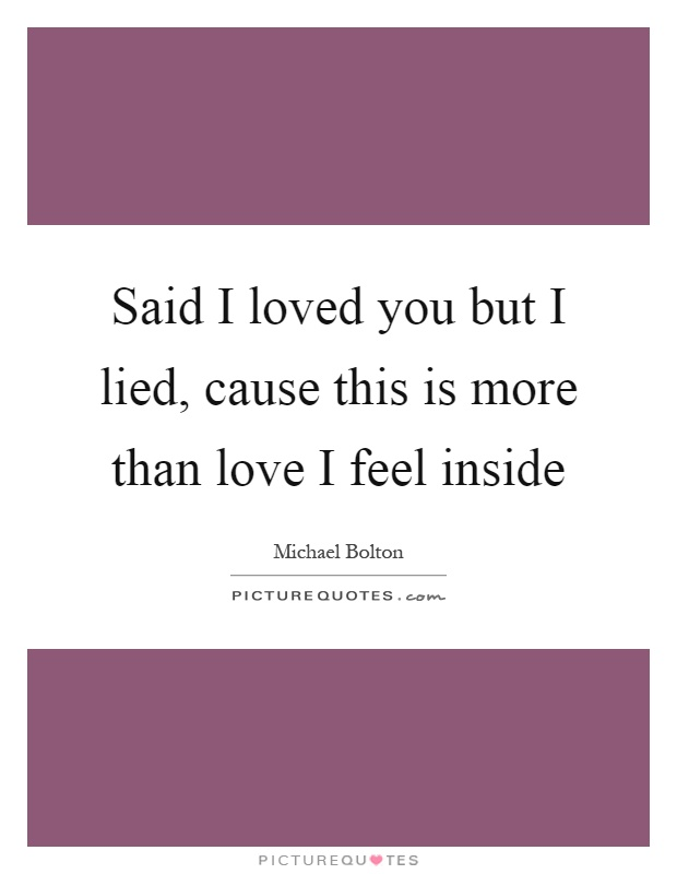Said I loved you but I lied, cause this is more than love I feel inside Picture Quote #1