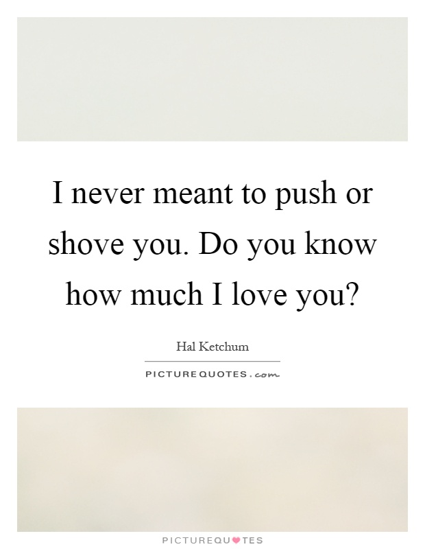 I never meant to push or shove you. Do you know how much I love you? Picture Quote #1