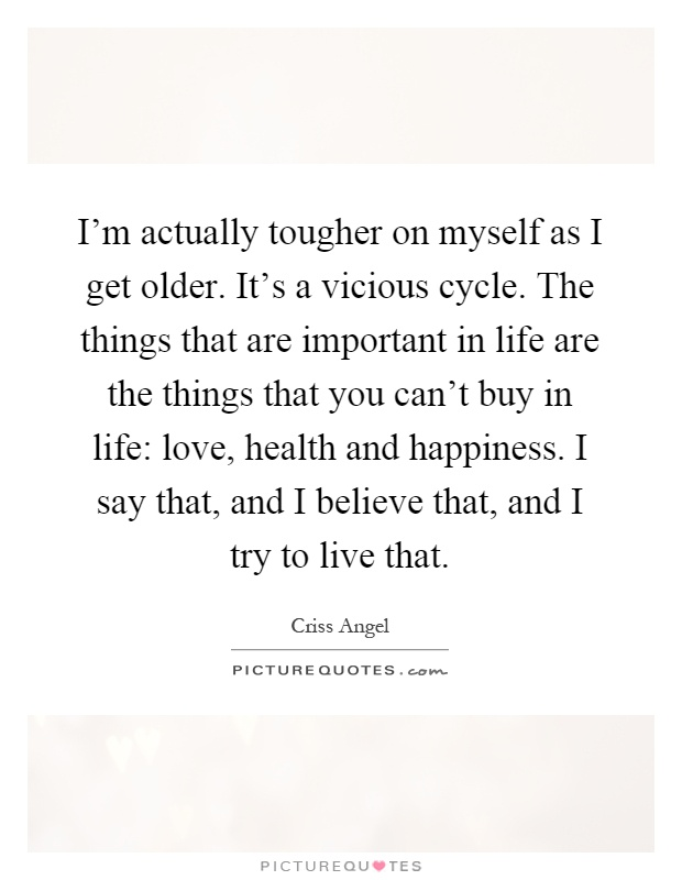 I'm actually tougher on myself as I get older. It's a vicious cycle. The things that are important in life are the things that you can't buy in life: love, health and happiness. I say that, and I believe that, and I try to live that Picture Quote #1