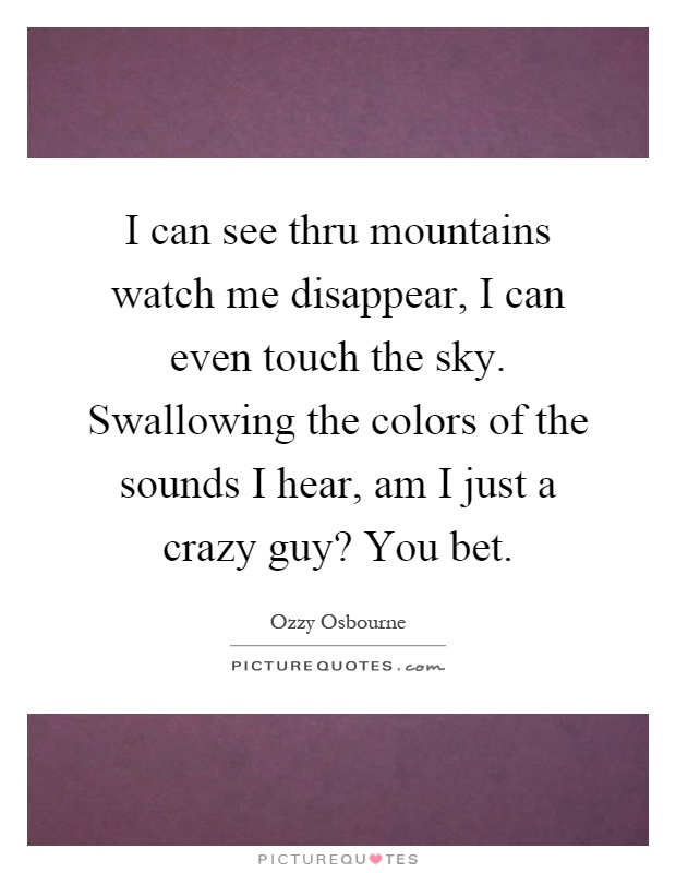 I can see thru mountains watch me disappear, I can even touch the sky. Swallowing the colors of the sounds I hear, am I just a crazy guy? You bet Picture Quote #1