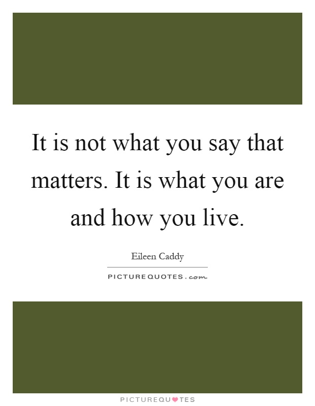 It is not what you say that matters. It is what you are and how you live Picture Quote #1