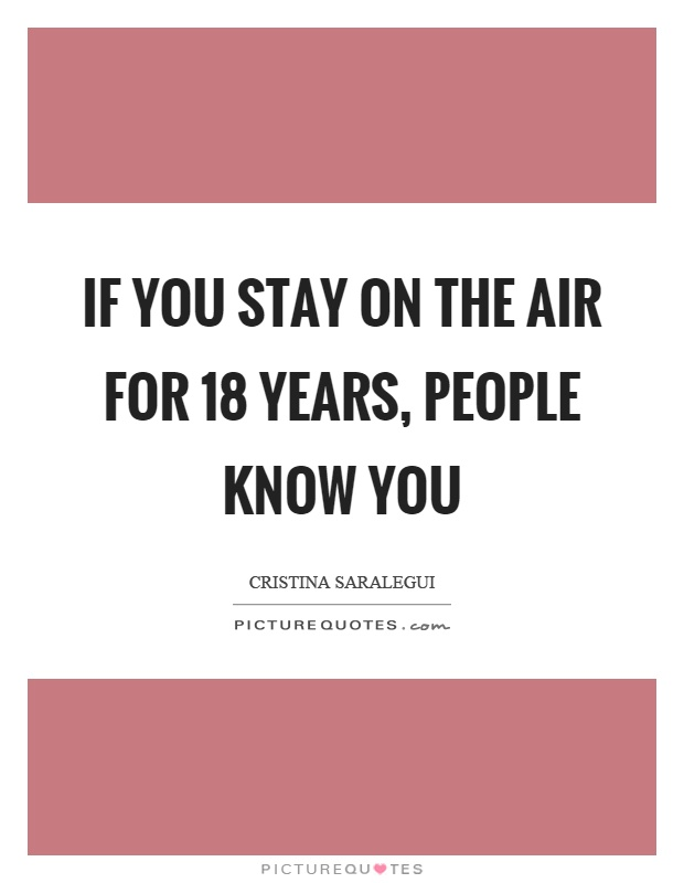 If you stay on the air for 18 years, people know you Picture Quote #1