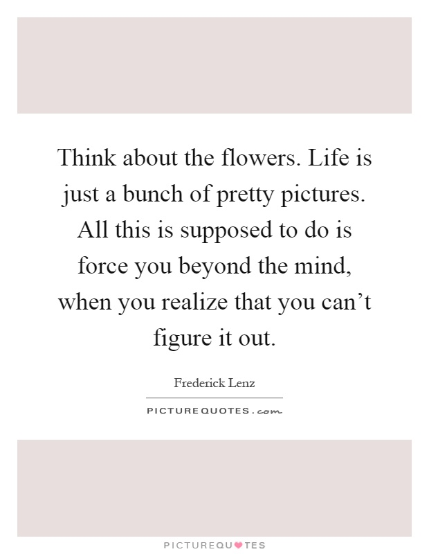 Think about the flowers. Life is just a bunch of pretty pictures. All this is supposed to do is force you beyond the mind, when you realize that you can't figure it out Picture Quote #1