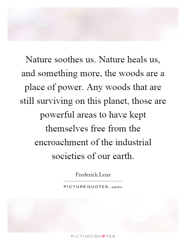 Nature soothes us. Nature heals us, and something more, the woods are a place of power. Any woods that are still surviving on this planet, those are powerful areas to have kept themselves free from the encroachment of the industrial societies of our earth Picture Quote #1