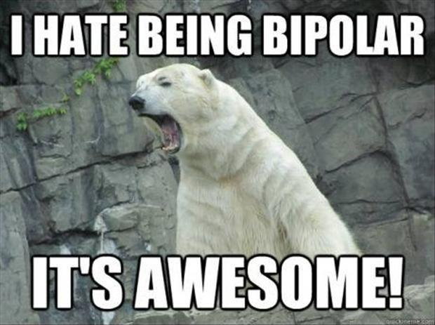 I hate being bipolar. It's awesome Picture Quote #1