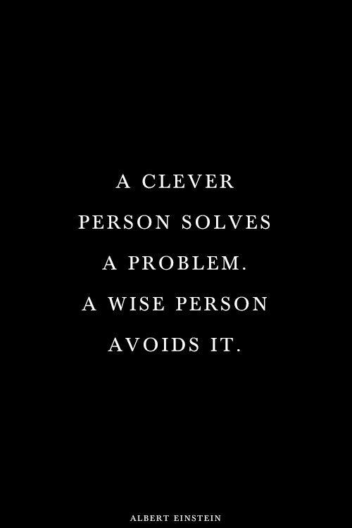 A clever person solves a problem. A wise person avoids it Picture Quote #2