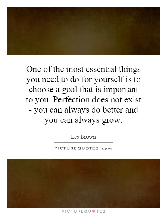 One of the most essential things you need to do for yourself is to choose a goal that is important to you. Perfection does not exist - you can always do better and you can always grow Picture Quote #1