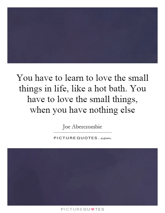 You have to learn to love the small things in life, like a hot bath. You have to love the small things, when you have nothing else Picture Quote #1