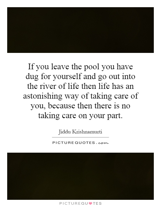 If you leave the pool you have dug for yourself and go out into the river of life then life has an astonishing way of taking care of you, because then there is no taking care on your part Picture Quote #1