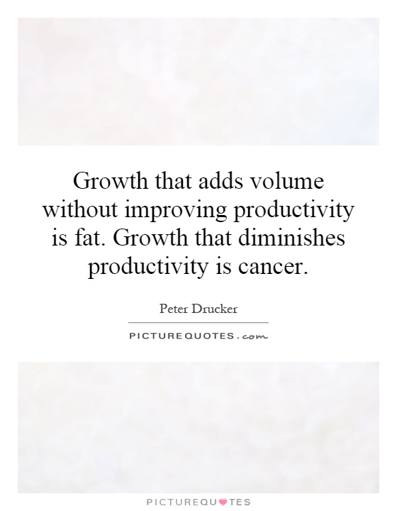 Growth that adds volume without improving productivity is fat. Growth that diminishes productivity is cancer Picture Quote #1