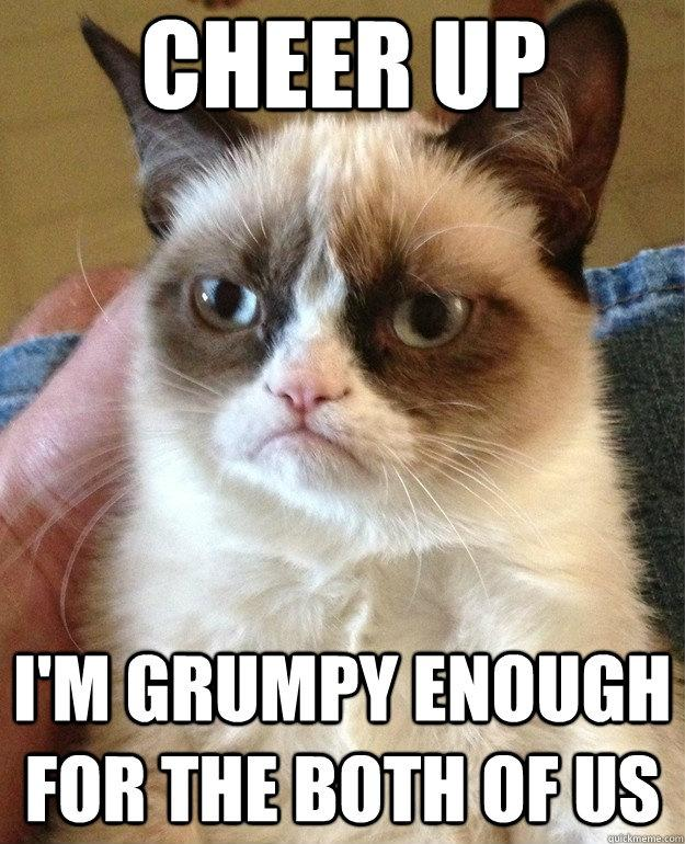 Cheer Up. I'm grumpy enough for the both of us Picture Quote #1