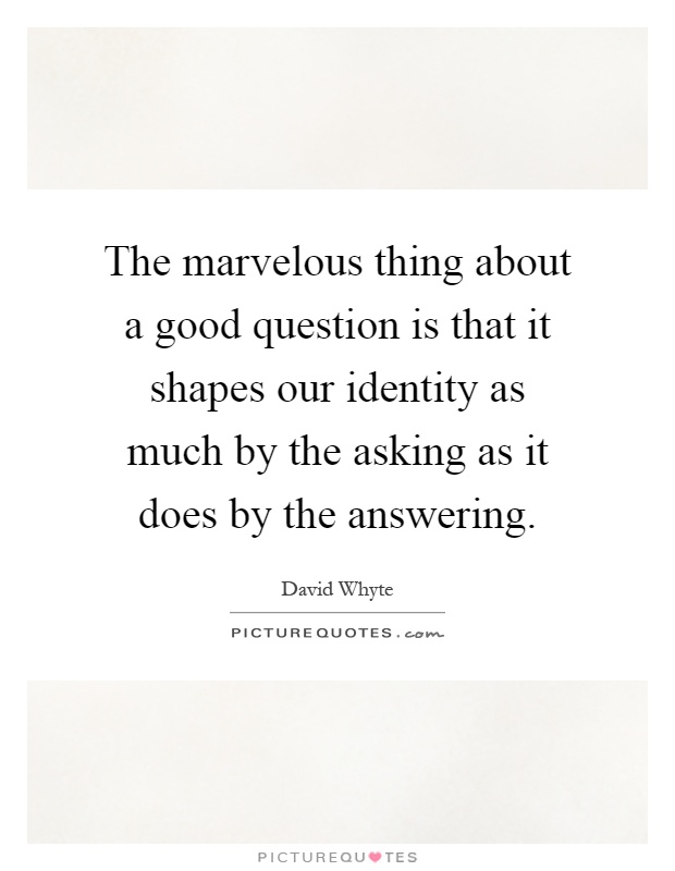 The marvelous thing about a good question is that it shapes our identity as much by the asking as it does by the answering Picture Quote #1