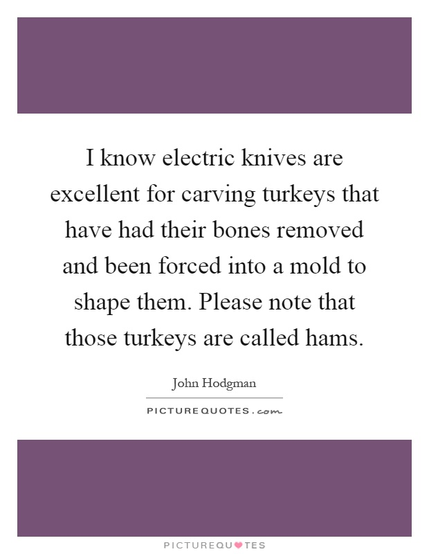 I know electric knives are excellent for carving turkeys that have had their bones removed and been forced into a mold to shape them. Please note that those turkeys are called hams Picture Quote #1
