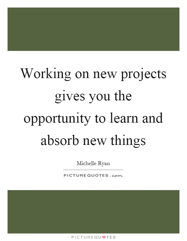 Working on new projects gives you the opportunity to learn and absorb new things Picture Quote #1