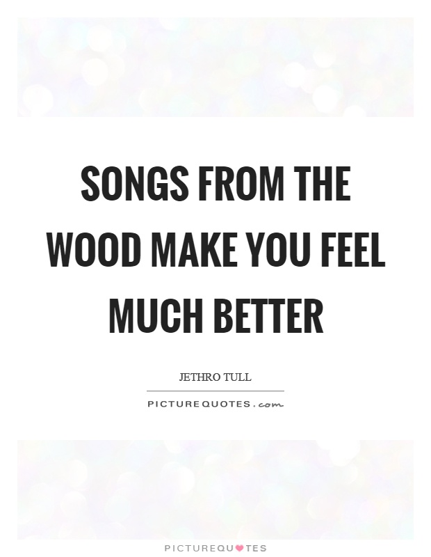 Songs from the wood make you feel much better Picture Quote #1