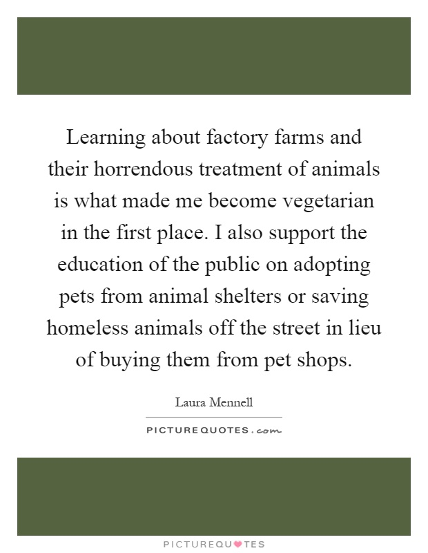 Learning about factory farms and their horrendous treatment of animals is what made me become vegetarian in the first place. I also support the education of the public on adopting pets from animal shelters or saving homeless animals off the street in lieu of buying them from pet shops Picture Quote #1