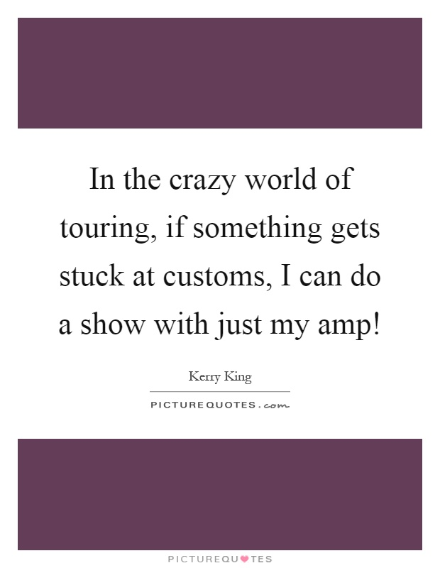 In the crazy world of touring, if something gets stuck at customs, I can do a show with just my amp! Picture Quote #1