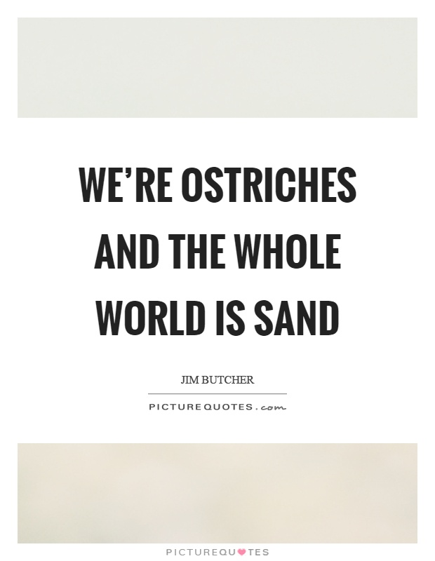 We're ostriches and the whole world is sand Picture Quote #1