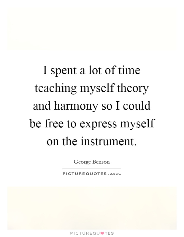 I spent a lot of time teaching myself theory and harmony so I could be free to express myself on the instrument Picture Quote #1