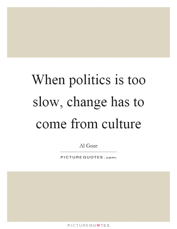 When politics is too slow, change has to come from culture Picture Quote #1