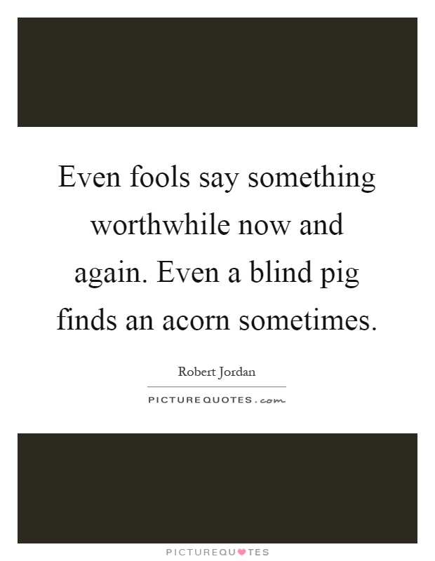 Even fools say something worthwhile now and again. Even a blind pig finds an acorn sometimes Picture Quote #1