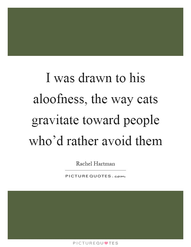 I was drawn to his aloofness, the way cats gravitate toward people who'd rather avoid them Picture Quote #1