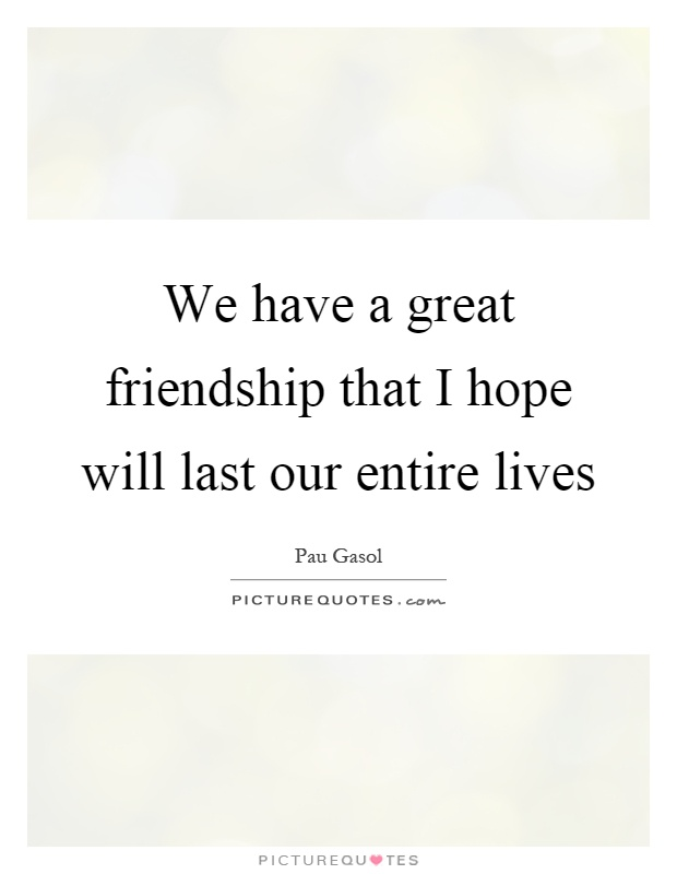 We have a great friendship that I hope will last our entire lives Picture Quote #1