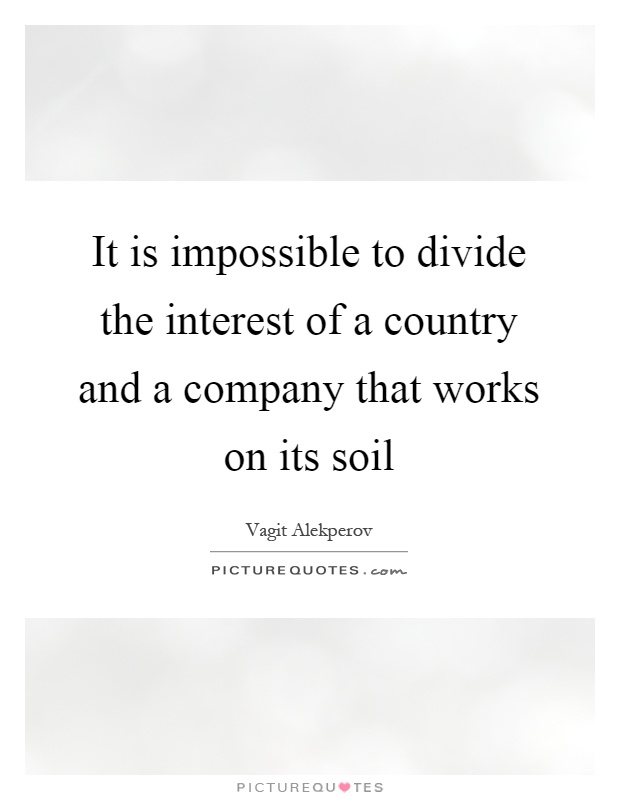 It is impossible to divide the interest of a country and a company that works on its soil Picture Quote #1