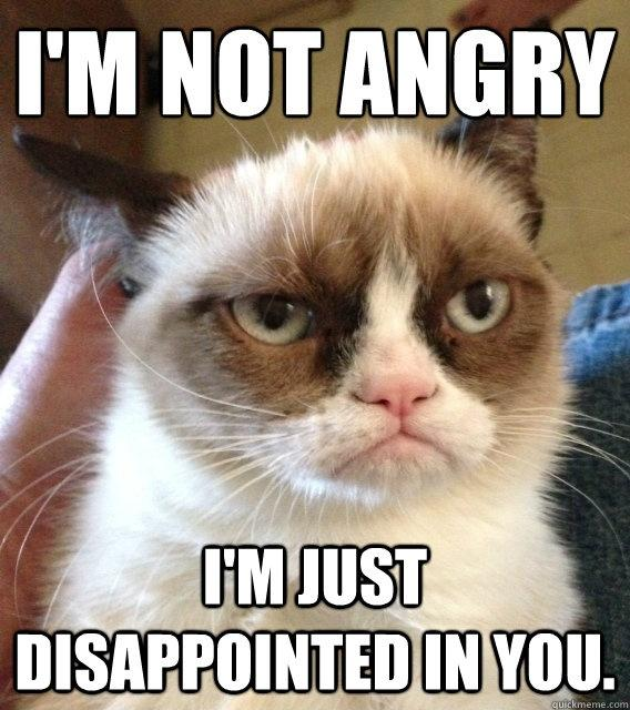 I'm not angry. I'm just disappointed in you Picture Quote #1