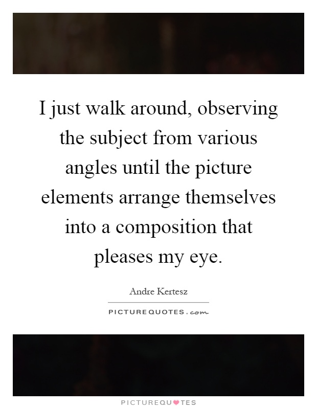 I just walk around, observing the subject from various angles until the picture elements arrange themselves into a composition that pleases my eye Picture Quote #1