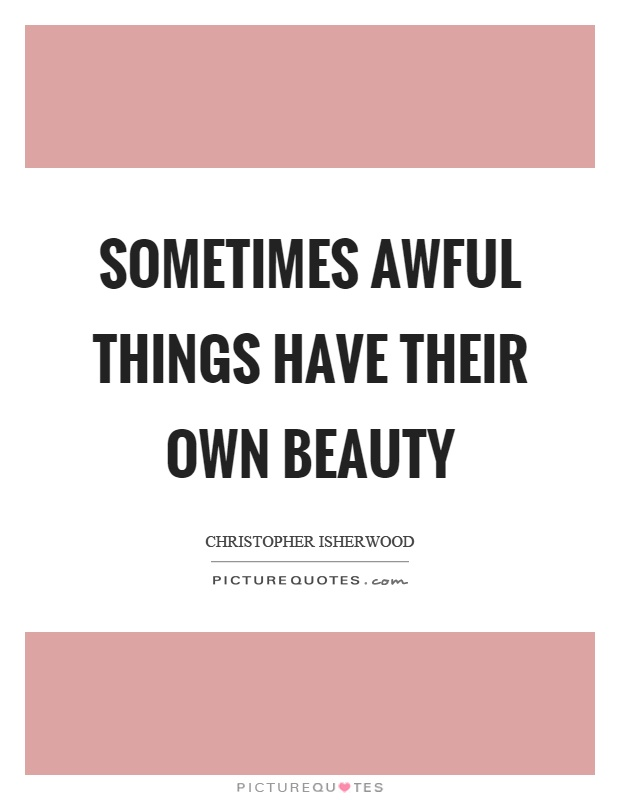Sometimes awful things have their own beauty Picture Quote #1