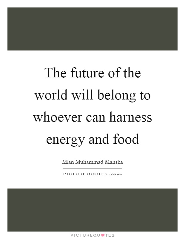 The future of the world will belong to whoever can harness energy and food Picture Quote #1