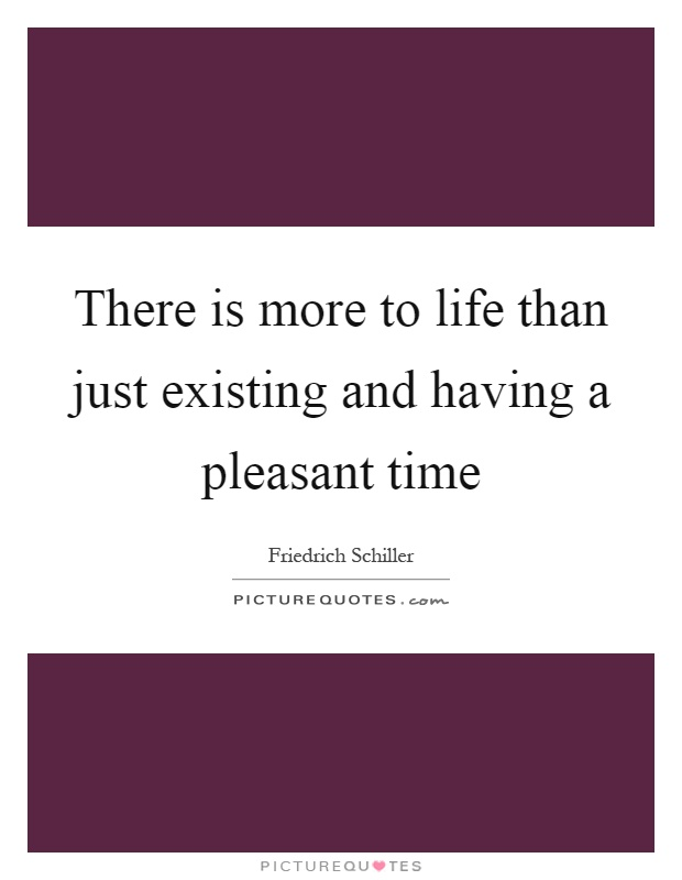 There is more to life than just existing and having a pleasant time Picture Quote #1