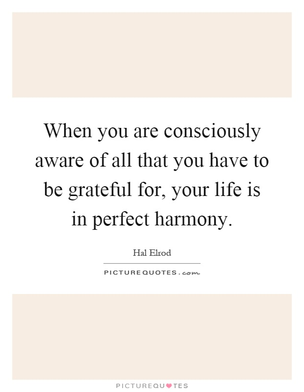 When you are consciously aware of all that you have to be grateful for, your life is in perfect harmony Picture Quote #1