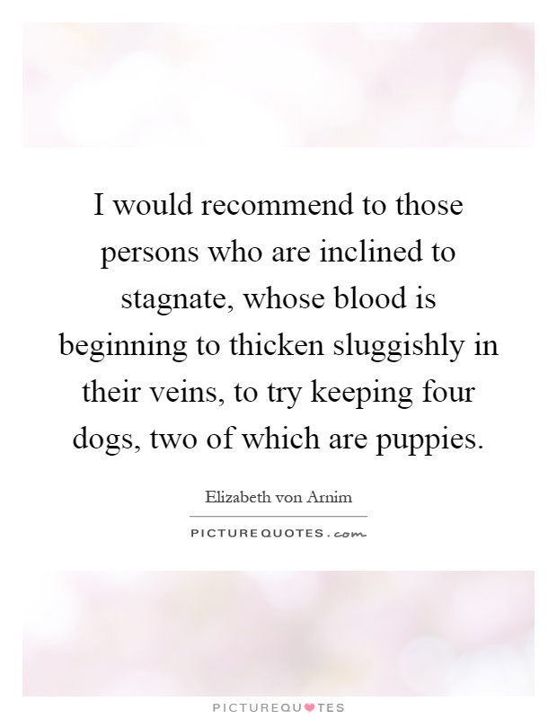 I would recommend to those persons who are inclined to stagnate, whose blood is beginning to thicken sluggishly in their veins, to try keeping four dogs, two of which are puppies Picture Quote #1