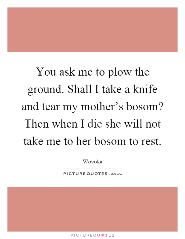You ask me to plow the ground. Shall I take a knife and tear my mother's bosom? Then when I die she will not take me to her bosom to rest Picture Quote #1
