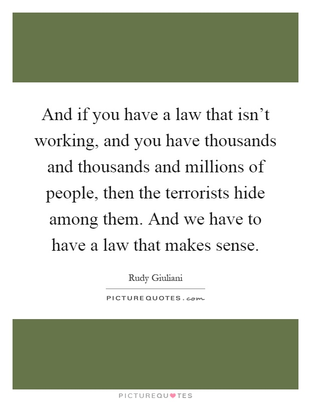 And if you have a law that isn't working, and you have thousands and thousands and millions of people, then the terrorists hide among them. And we have to have a law that makes sense Picture Quote #1