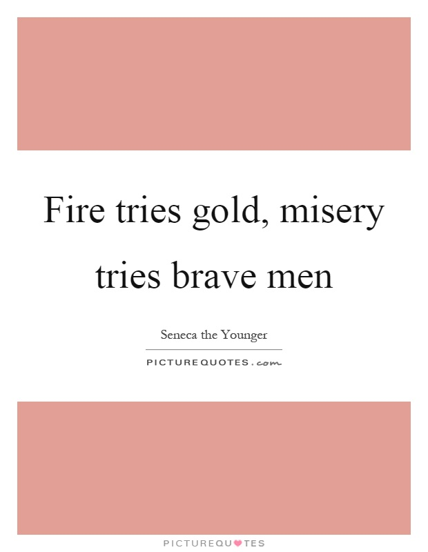 Fire tries gold, misery tries brave men Picture Quote #1
