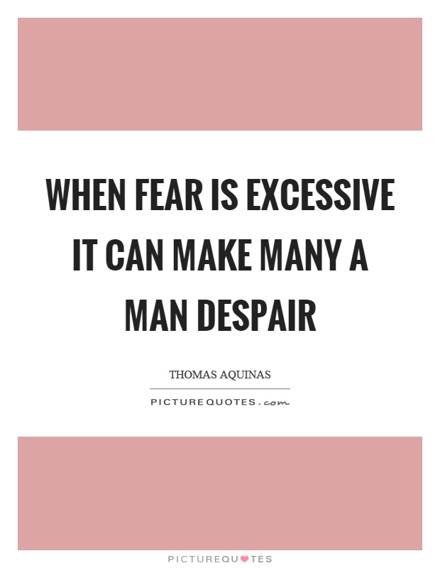 When fear is excessive it can make many a man despair Picture Quote #1