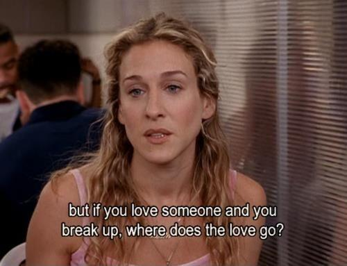 But if you love someone and you break up, where does the love go? Picture Quote #1