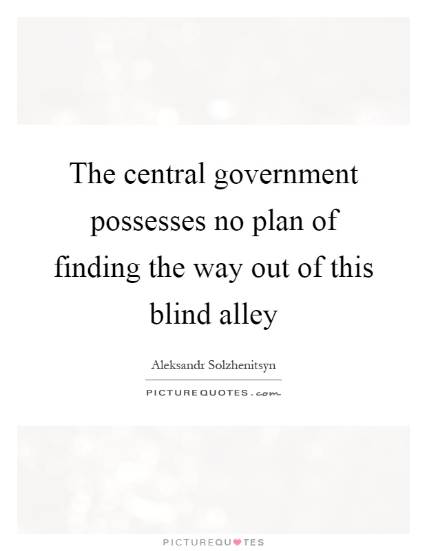 The central government possesses no plan of finding the way out of this blind alley Picture Quote #1