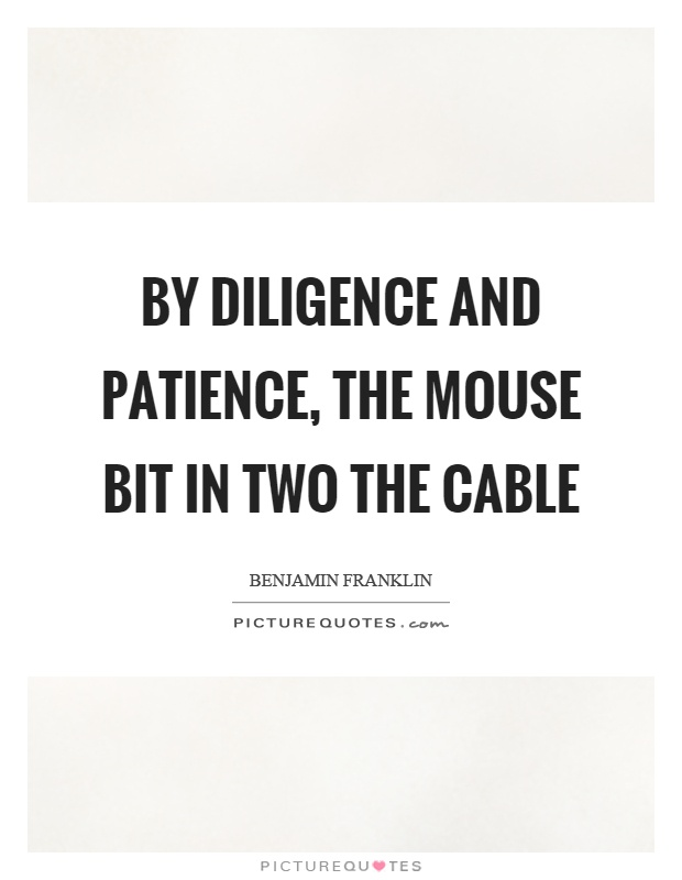 By diligence and patience, the mouse bit in two the cable Picture Quote #1