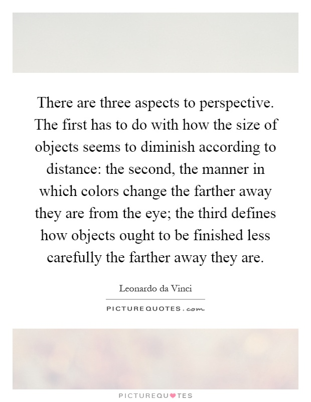 There are three aspects to perspective. The first has to do with how the size of objects seems to diminish according to distance: the second, the manner in which colors change the farther away they are from the eye; the third defines how objects ought to be finished less carefully the farther away they are Picture Quote #1