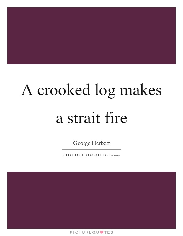 A crooked log makes a strait fire Picture Quote #1