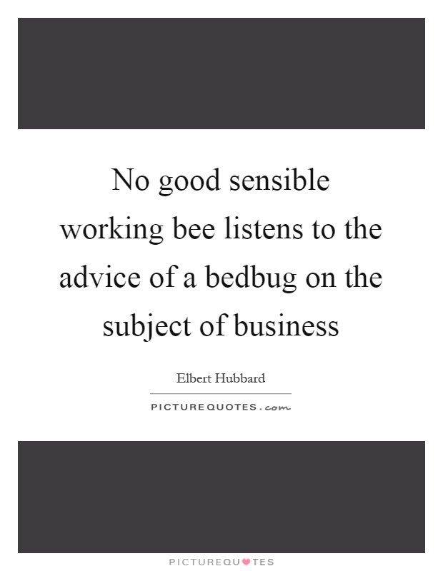 No good sensible working bee listens to the advice of a bedbug on the subject of business Picture Quote #1