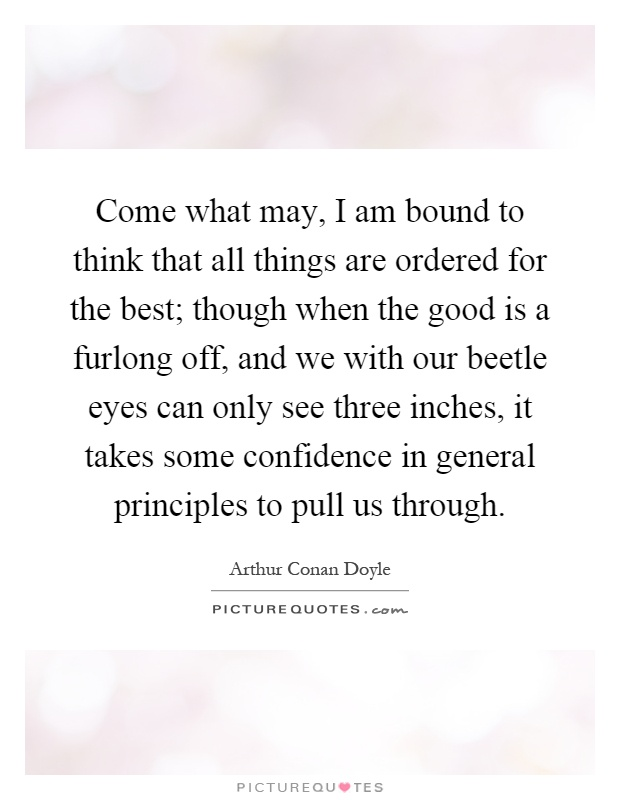 Come what may, I am bound to think that all things are ordered for the best; though when the good is a furlong off, and we with our beetle eyes can only see three inches, it takes some confidence in general principles to pull us through Picture Quote #1