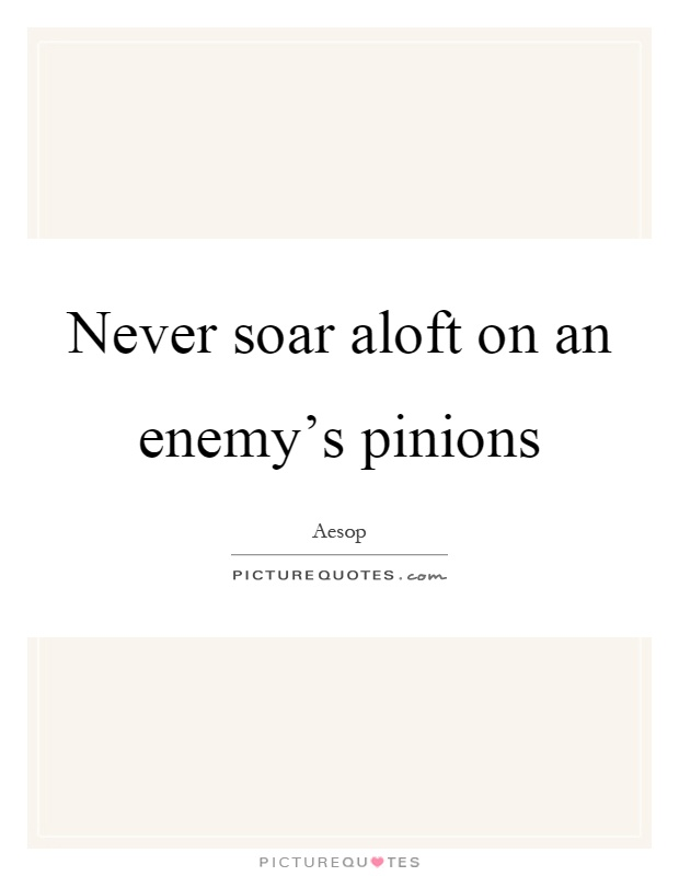 Never soar aloft on an enemy's pinions Picture Quote #1