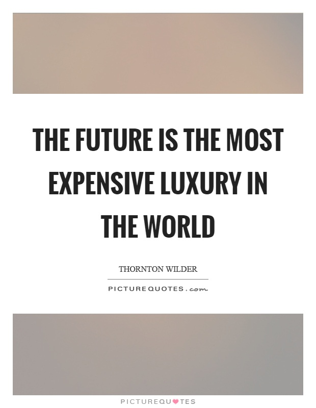 The future is the most expensive luxury in the world Picture Quote #1